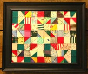 1920s tattered quiltcut up and reassembled on canvas