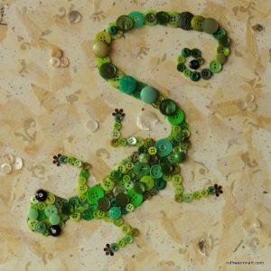 """Green Gecko Making Tracks"" by Ruth Warren, 12""x12"" mixed media button mosaic"