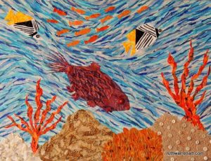 """""""Coral Reef Currents"""" by Ruth Warren, 18""""x24"""" mixed media on canvas"""