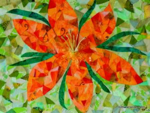 """Orange Daylily"" by Ruth Warren, 9""x12"" mixed media featuring fabric mosaic"