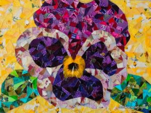 """Purple Pansy"" by Ruth Warren, 9""x12"" mixed media on canvas board featuring fabric mosaic"