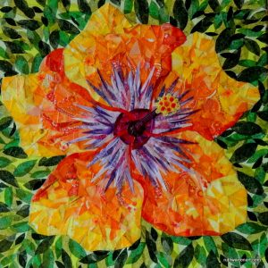 """Climax Hibiscus"" by Ruth Warre, 12""x12"" mixed media on canvas featuring tissue collage and fabric mosaic"