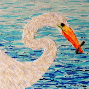 """White Egret"" by Ruth Warren, 12""x12"" mixed media on canvas featuring tissue collage and fabric mosaic"