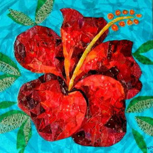 """Red Hibiscus"" by Ruth Warren, 10""x10"" mixed media on canvas featuring tissue collage and fabric mosaic"
