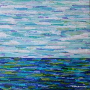 """Sea and Sky #1"" by Ruth Warren, 12""x12"" mixed media on canvas featuring tissue collage"
