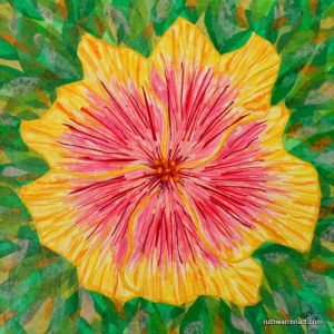 "Pink and Yellow Hibiscus by Ruth Warren, 12""x12"" mixed media on canvas featuring tissue collage"