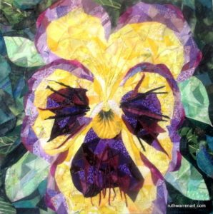 """Yellow and Purple Pansy"" by Ruth Warren, 10""x10"" mixed media on canvas featuring fabric mosaic"